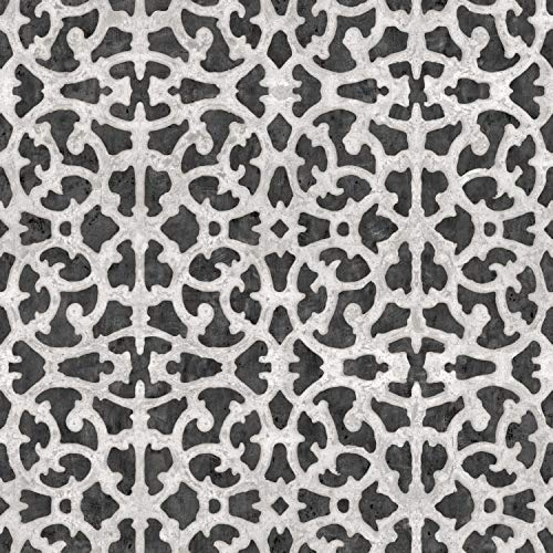 RoomMates Black and White Scroll Gate Peel and Stick Wallpaper (White Scroll Wallpaper)