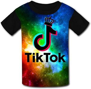 Camiseta de Manga Corta para niños y niñas TIK-TOK Music King 3D - Negro - Medium: Amazon.es: Ropa y accesorios