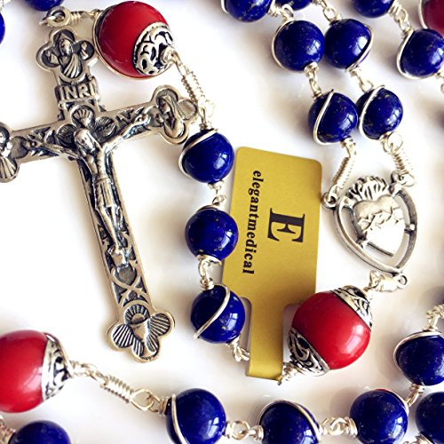 Handmade Sterling 925 Silver Lapis Lazuli Beads Rosary Cross Crucifix Catholic Necklace Gifts by elegantmedical (Image #6)