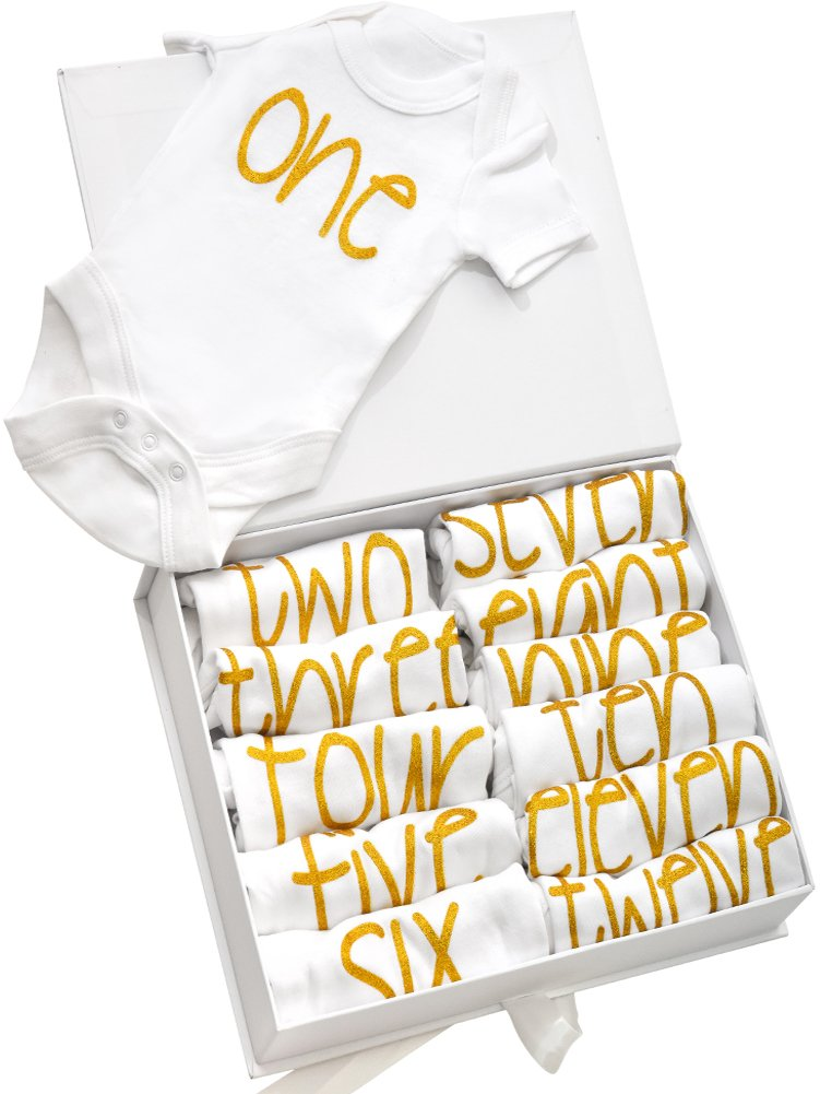 NAVI Baby 12 Pack Bodysuits - Gift Set for Newborns - 12 Months of onesies