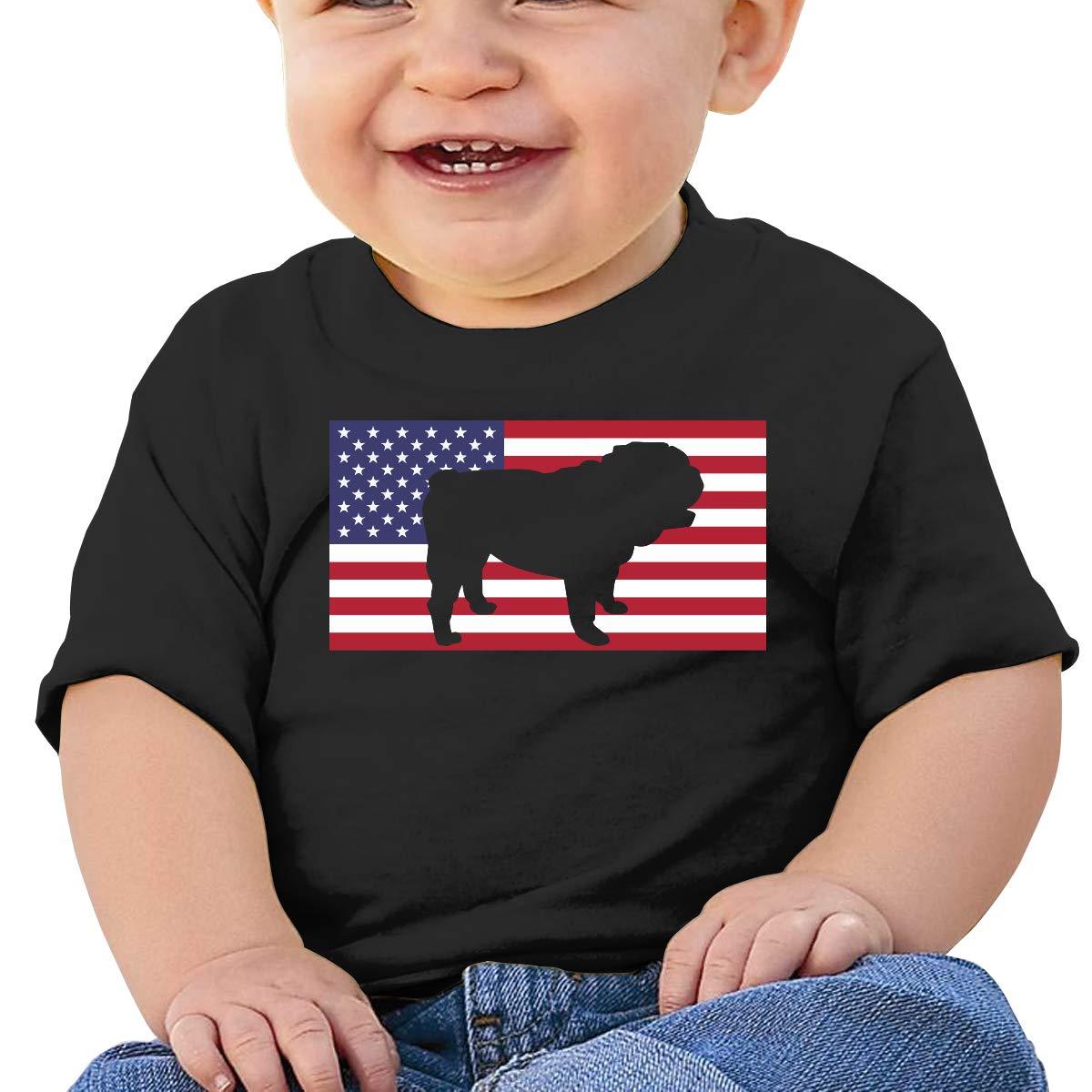 English Bulldog USA Flag Newborn Baby Short Sleeve Crew Neck T Shirts 6-18 Month Tops