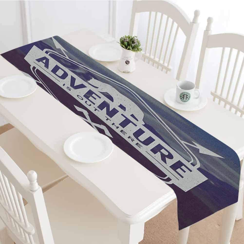 Adventure Table Runner,Adventure Logo with a Motivational Quote Hatchets and Bear Mountain Landscape Tabletop Collection for Party Wedding Baby Shower Decorations,16x72 Inch,Stale Blue