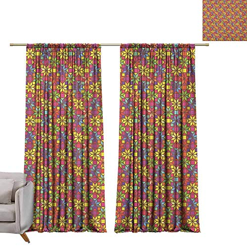 berrly Grommet Blackout Curtains Colorful,Stained Glass Style Pattern with Flower Motifs Geometrical Star Shapes Mosaic Tile, Multicolor W72 x L108 Art Drapery Panels