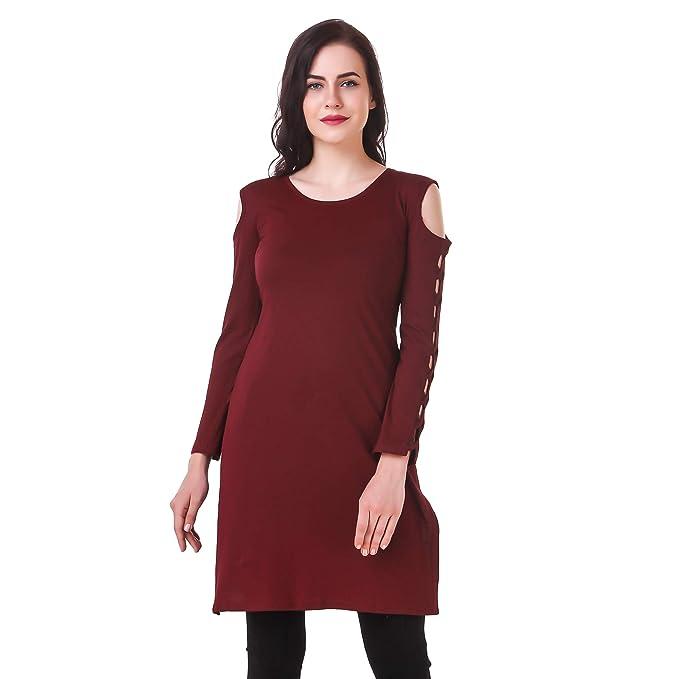 Kiba Retail Women s Designer Sleeve Off Shoulder Plain Kurti 9b4a19482567