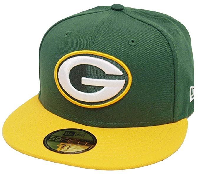 0c952ee616e Amazon.com  New Era Green Bay Packers Green Yellow 2 Tone On Field NFL Cap  59fifty 5950 Fitted Limited Edition  Clothing