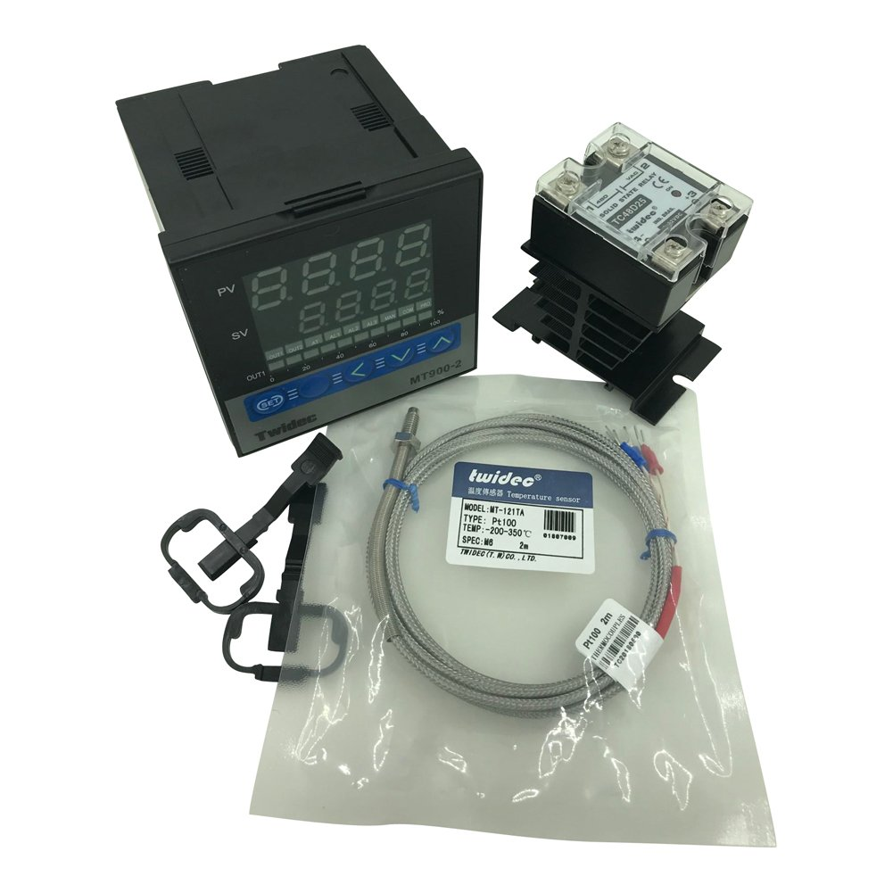 Twidec MT900-2 PID Temperature controller, 90-240VAC, 0-400 °C, Input: PT100, Output: SSR(DC12V);PT100 screw probe, probe lead length 2M(78.74 inches);TC48D25 SSR 25A;Black heat sink