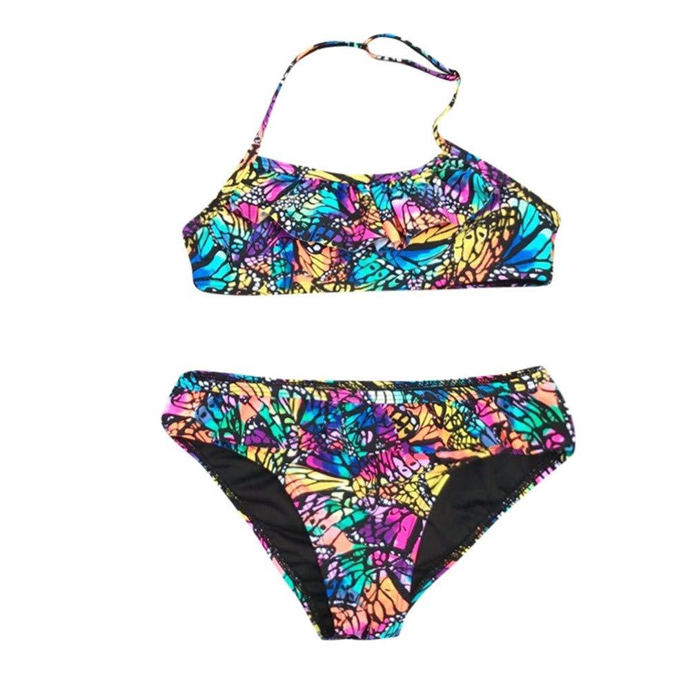 Yaseking Baby Girl Two Piece Swimwear, Frills Color Butterfly Print Split Swimsuit Bikini