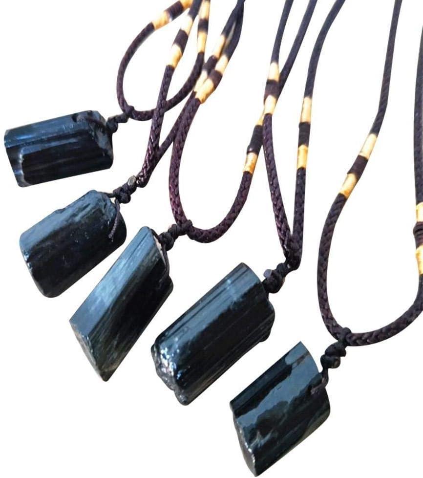 Nickey La curación de Cristal de Cuarzo Negro Natural de Cristal de turmalina Colgante de Piedra Collar Atado con Alambre Charm Piedras Collares Joya