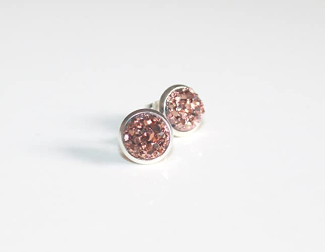 ba8b858d9 Image Unavailable. Image not available for. Color: Silver & Rose Gold Druzy  Stud Earrings / 8 mm Tiny ...