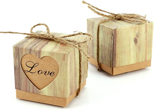 Set de 100 Cajas para dulces bombones Caja kraft de boda regalo Caja de cuadro Rútico con Corazón ↙OVE?con cuerda Gift: Amazon.es: Hogar