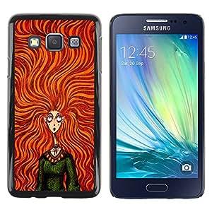 Paccase / SLIM PC / Aliminium Casa Carcasa Funda Case Cover para - Orange Girl Hair Green Dress Fashion - Samsung Galaxy A3 SM-A300