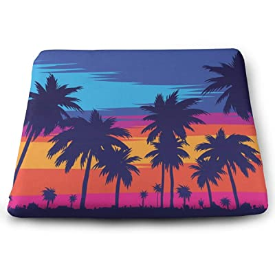 Sanghing Customized Evening On The Beach with Palm Trees 1.18 X 15 X 13.7 in Cushion, Suitable for Home Office Dining Chair Cushion, Indoor and Outdoor Cushion.: Home & Kitchen