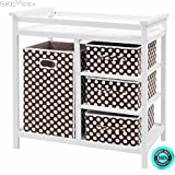 SKEMiDEX--- Brown Infant Baby Changing Table w/3 Basket Hamper Diaper Storage Nursery New This Baby Changing Table keeps everything tidy and concealed for a clean look in the nursery