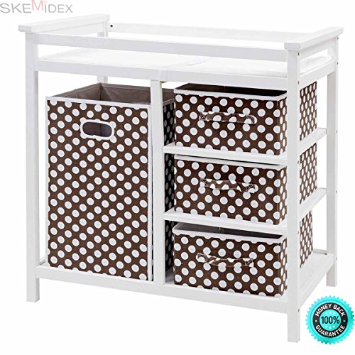 SKEMiDEX--- Brown Infant Baby Changing Table w/3 Basket Hamper Diaper Storage Nursery New This Baby Changing Table keeps everything tidy and concealed for a clean look in the nursery by SKEMiDEX