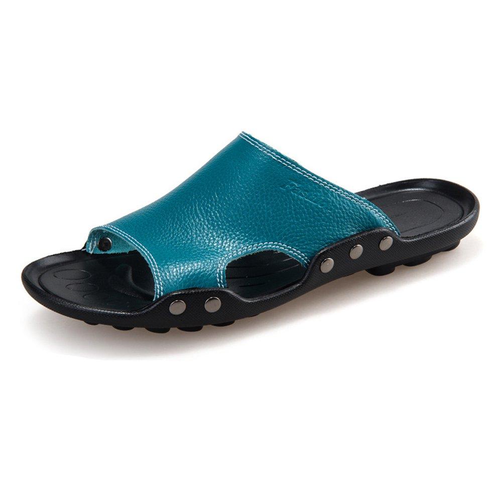 Sunny&Baby Zapatillas de Playa de Cuero Genuino de Piel de Vaca de los Hombres Sandalias Antideslizantes de Trabajo Manual a Mano Resistente a la Abrasión 43 EU|Azul
