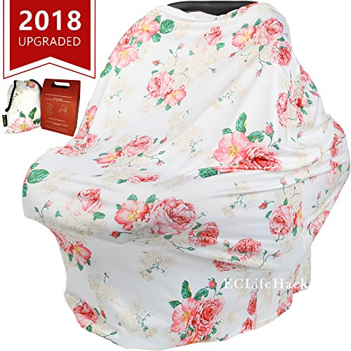 Stroller Breastfeeding Nursing Cover by CozyBomB for Infant and New Mother - Floral Pattern Soft and Sketchy Car Seat Canopy, Shopping Cart, Multi-use Scarf, Shawl for Baby Girls