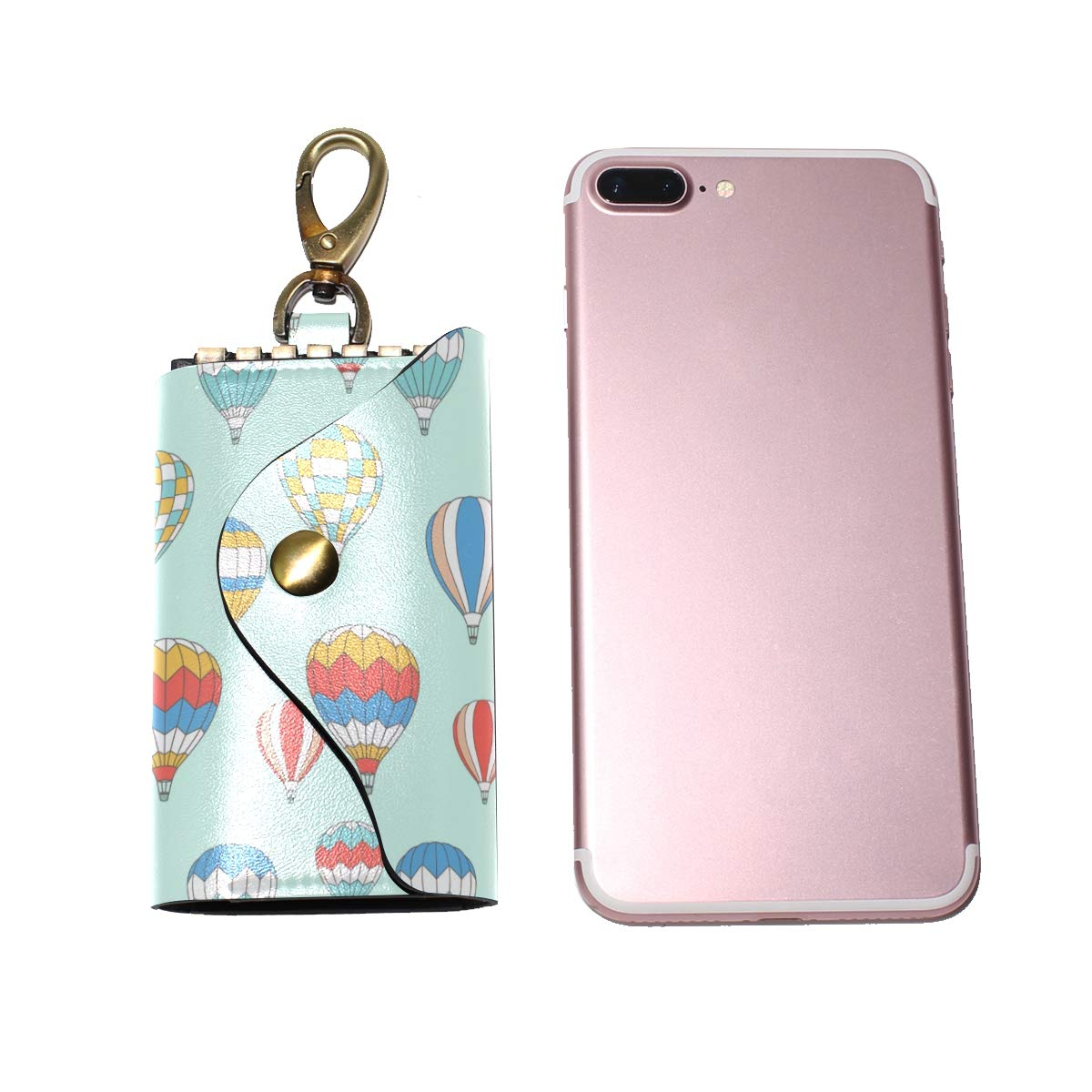 KEAKIA Hot Air Ballons Pattern Leather Key Case Wallets Tri-fold Key Holder Keychains with 6 Hooks 2 Slot Snap Closure for Men Women