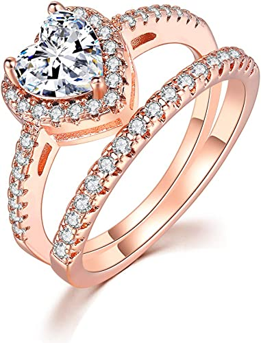 TIVANI Womens 3PCS Pretty 18K Yellow Gold//Platinum Plated Princess Cut CZ Bridal Wedding Engagement Band Set Best Anniversary Promise Rings for Her Eternity Love Jewelry Heart Arrow Rings