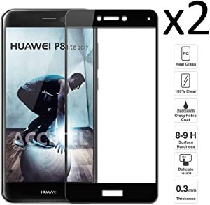 iGlobalmarket [2 Unidades Protector de Pantalla 3D Huawei P8 Lite 2017, Cristal Templado, sin Burbujas, Alta Definicion, 9H Dureza, Resistente a Arañazos
