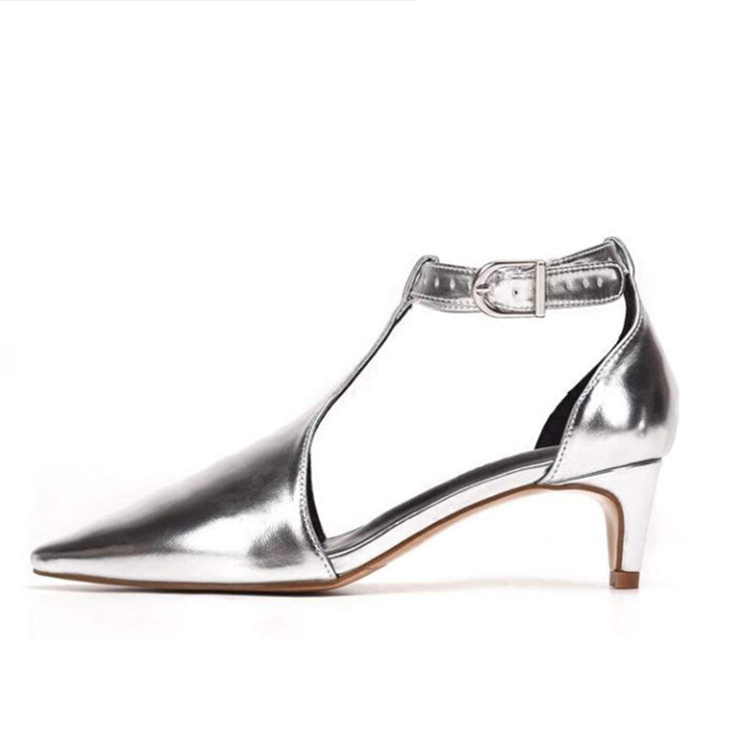 Silver Sexy gold Pointed Toe Women Pumps Wedding Dress shoes Woman T-Strap High Heels Valentine shoes Stiletto Sandals