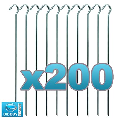200 TENT PEGS HEAVY DUTY GALVANISED AWNING GARDEN POND NETTING CAMPING 9 by Bid Buy Direct
