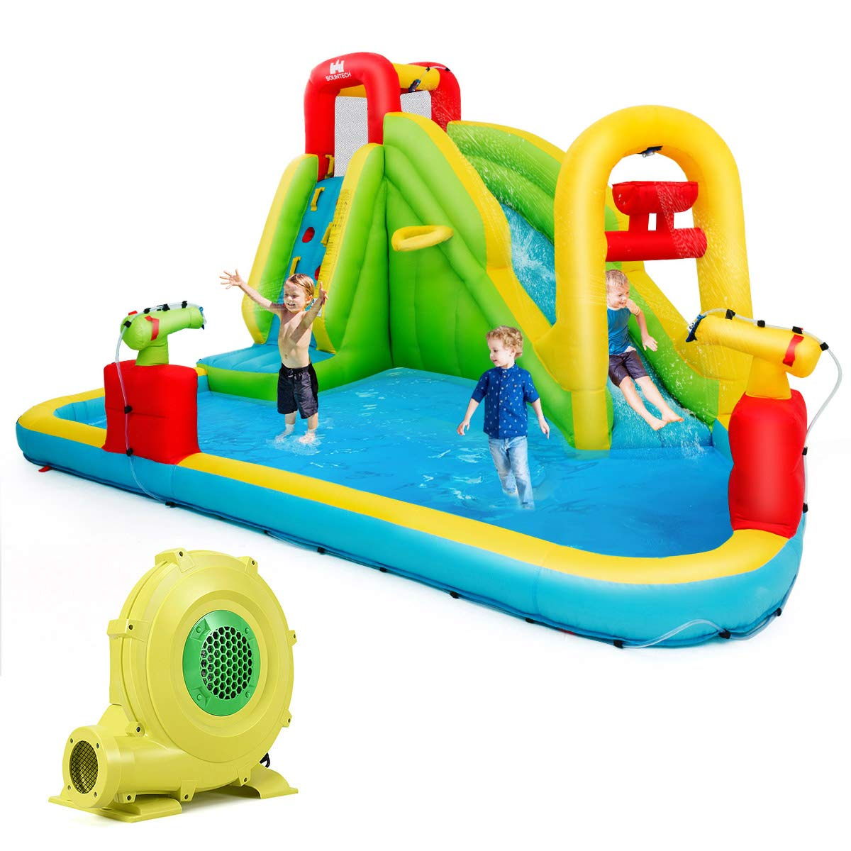 BOUNTECH Inflatable Bounce House, 7-In-1 Water Pool Slide w/ Climbing Wall, Water Cannons, Basketball Rim, Splash Pool, Including Oxford Carry Bag, Repairing Kit, Stakes, Hose, With 680W Air Blower by BOUNTECH