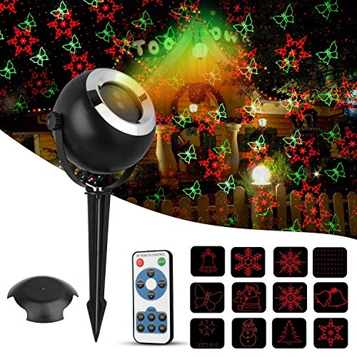 Christmas Projector Light, TGJOR 12 Patterns Red&Green LED Waterproof Indoor&Outdoor Lasher Light with RF Wireless Remote Control and Smart IC Protection for Xmas,Party, Bar and Holiday Decoration