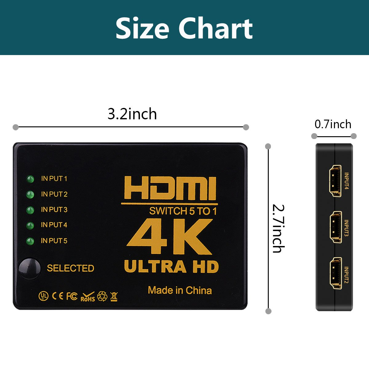 HDMI Switch Splitter,NXLFH Intelligent 5-Port HDMI Switcher, Supports 4K, Full HD1080p, 3D with IR Remote 1080P HD Audio for Nintendo Switch, Xbox One, Roku 3, Apple TV HD TV XBox PS3 PS4 5 in 1 out by NXLFH (Image #6)
