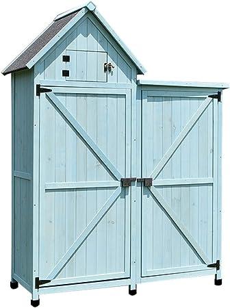 Cobertizos de almacenamiento Madera nave de almacenamiento al aire libre Jardín Armarios con soporte del estante de los muebles del patio Piscina Accesorios (Color : Blue , Size : 137.5*52*175 cm) : Amazon.es: Hogar
