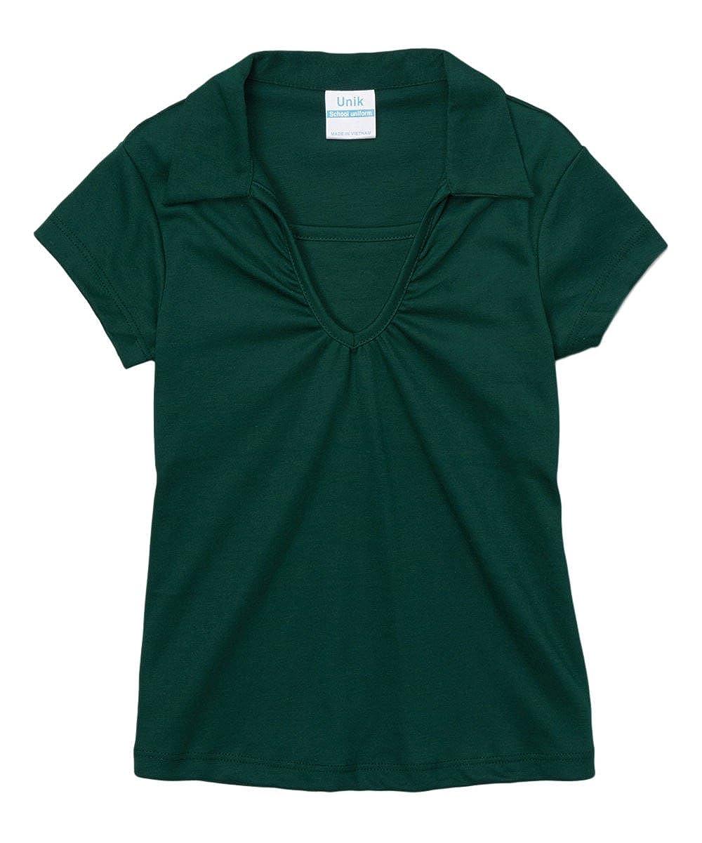 unik Girl's Uniform V-Neck Collar Shirt Short Sleeve Great for School Burgundy Navy White Sky Blue Green Purple Yellow Red GSU-03-P