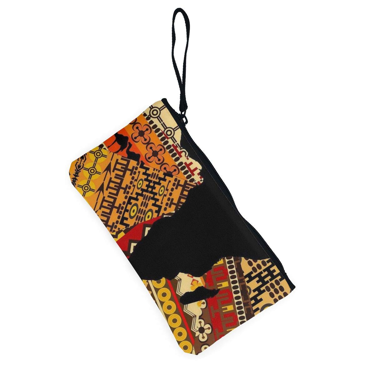 Canvas Cash Coin Purse,African Map Ethnic Pattern Print Make Up Bag Zipper Small Purse Wallets