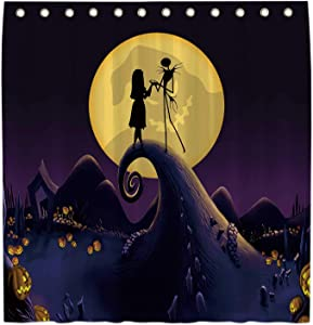 Allenjoy 72x72 Inch Nightmare Before Christmas Shower Curtain for Bathroom Sets Trick Or Treat Jack Home Bath Decor Decorations Customizable Durable Waterproof Fabric Machine Washable with 12 Hooks
