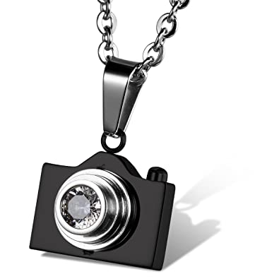 4c6829bfdc711 Flongo Womens Men's Elegant Stainless Steel Bling Camera Pendant Necklace,  22 inch Chain