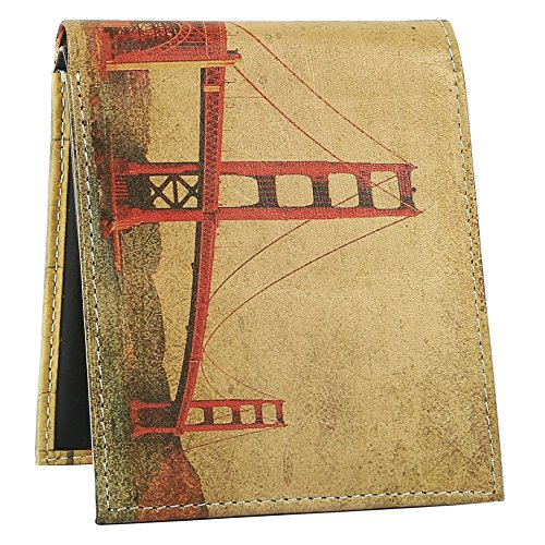 Wallet for Men - Genuine Printed Leather Bifold Stylish Wallet with 2 ID Window - Golden Gate Bridge Leather Mens Wallet