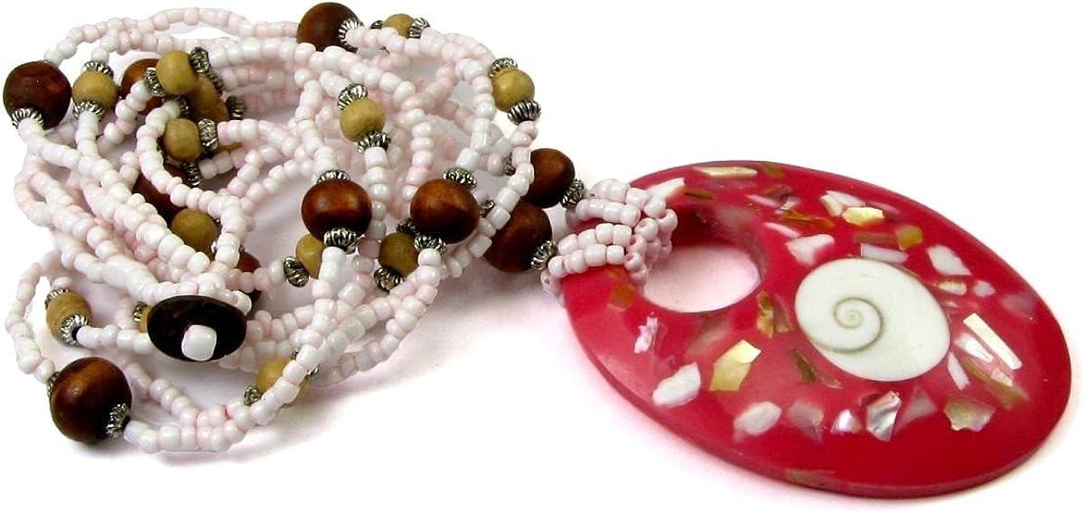 貝殻はめ込み 樹脂 楕円形ペンダント シードビーズ付き チョーカーネックレス