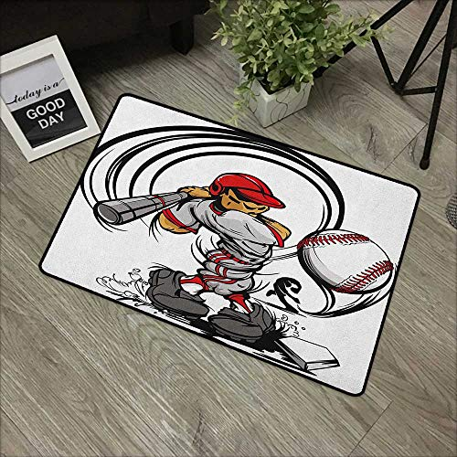 pad W24 x L35 INCH Teen Room,Baseball Cartoon Style Player Hitting The Ball Boys Kids Caricature Print, Grey Red White Non-Slip, with Non-Slip Backing,Non-Slip Door Mat Carpet