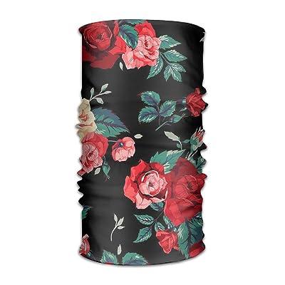 Beautiful Rose Pattern Headband Bandana Mask Sports Seamless Breathable Hair Band Turban For Workout, Fitness, Running, Cycling, Yoga