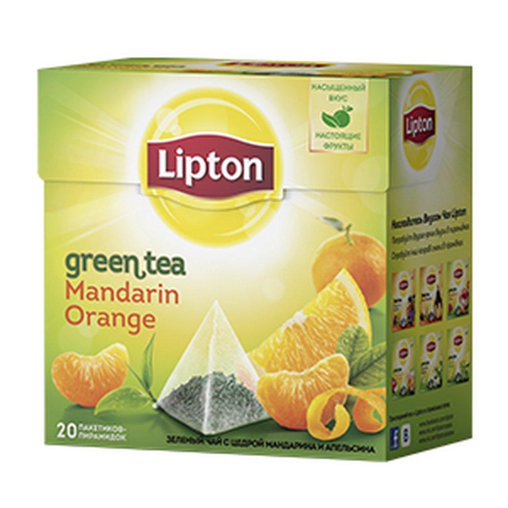 Lipton Green Tea Pyramids, Mandarin Orange 20 ct , Imported
