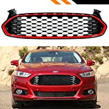 For 2013-2016 Ford Fusion Glossy Black Honeycomb Mesh Front Grille With Red Trim