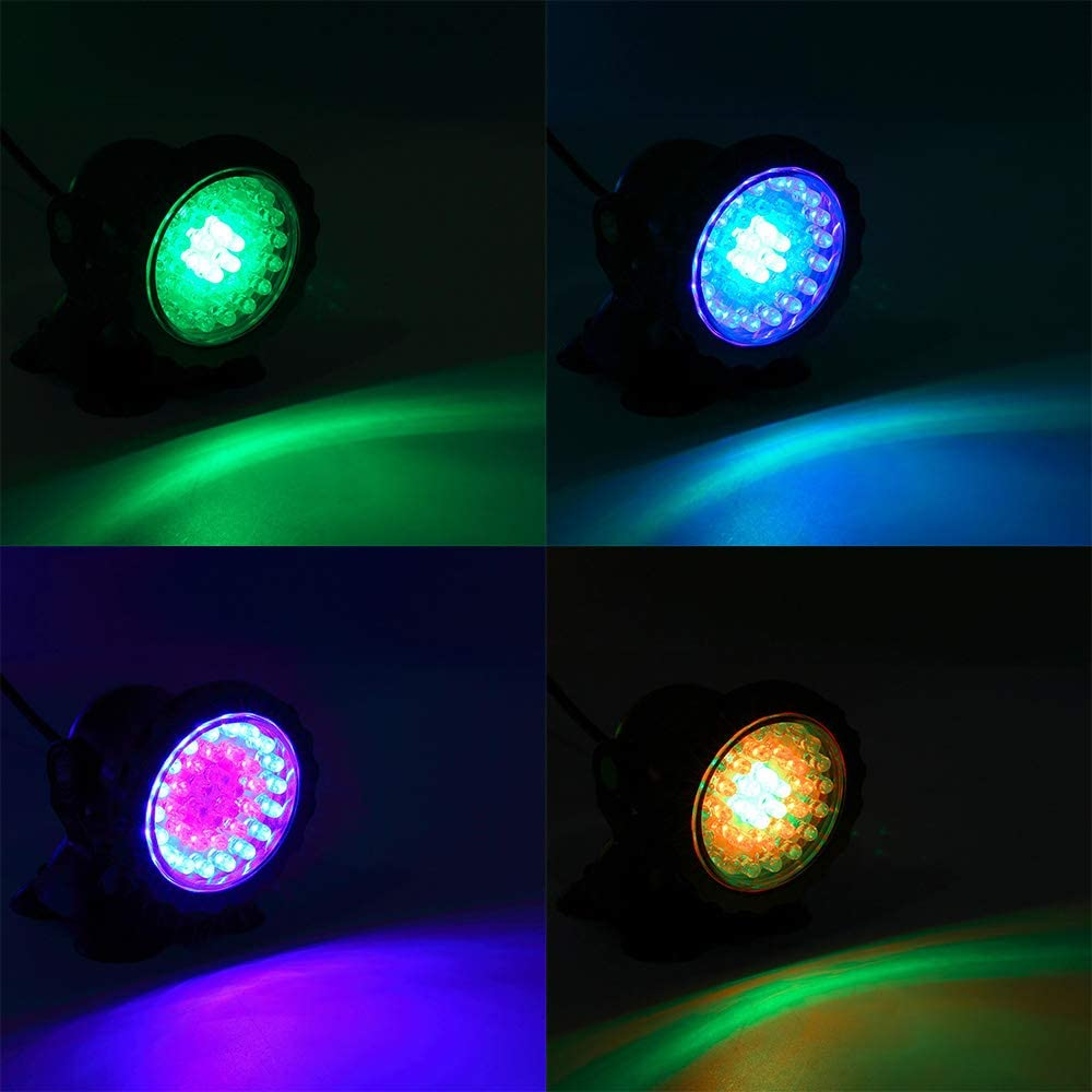36 LED Waterproof Underwater Submersible Lights Multi-Color Spotlight for Garden Fountain Fish Tank Pool 3 Pack SecurityIng Pond Light