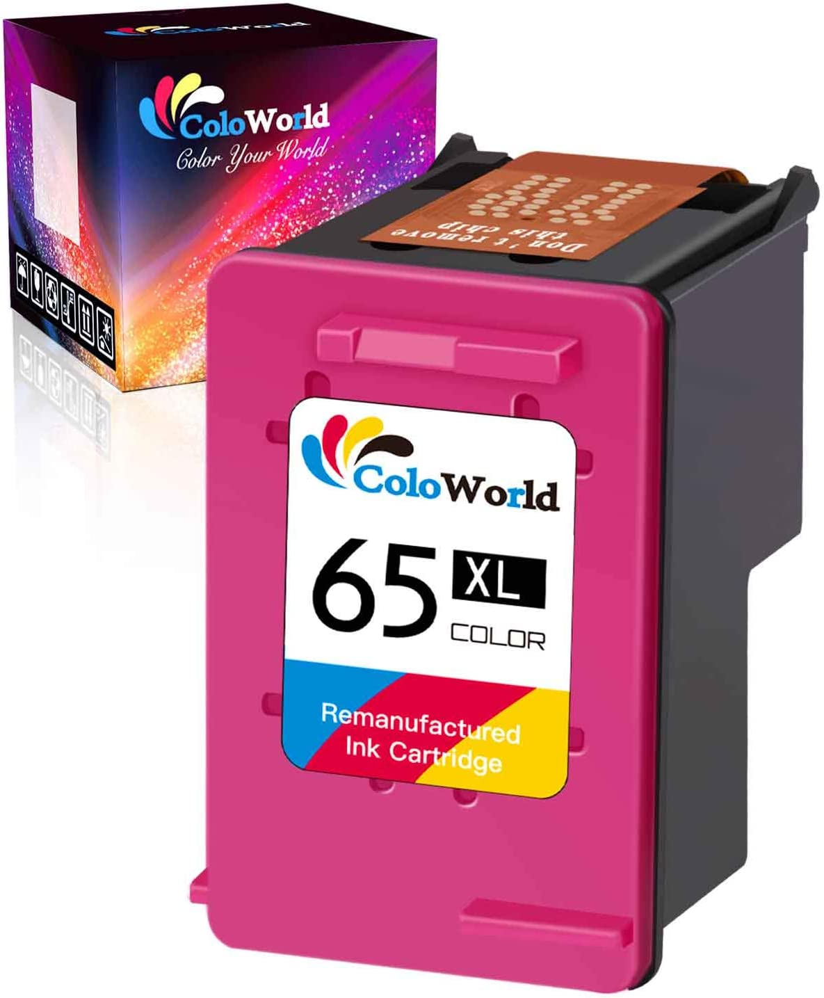 ColoWorld Remanufactured 65XL 65 Ink Cartridge Replacement for HP 65 65XL Ink Work with HP Envy 5055 5052 5010 DeskJet 2622 3755 3735 2655 3752 2652 2624 3720 3752 2652 AMP 100 Printer (1 Color)