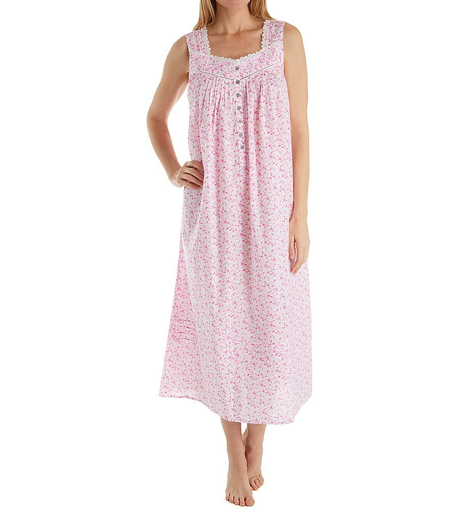 Eileen West Women's Plus Size Pink Floral Ballet Nightgown, White Ground with Mono Pink Floral, 3X