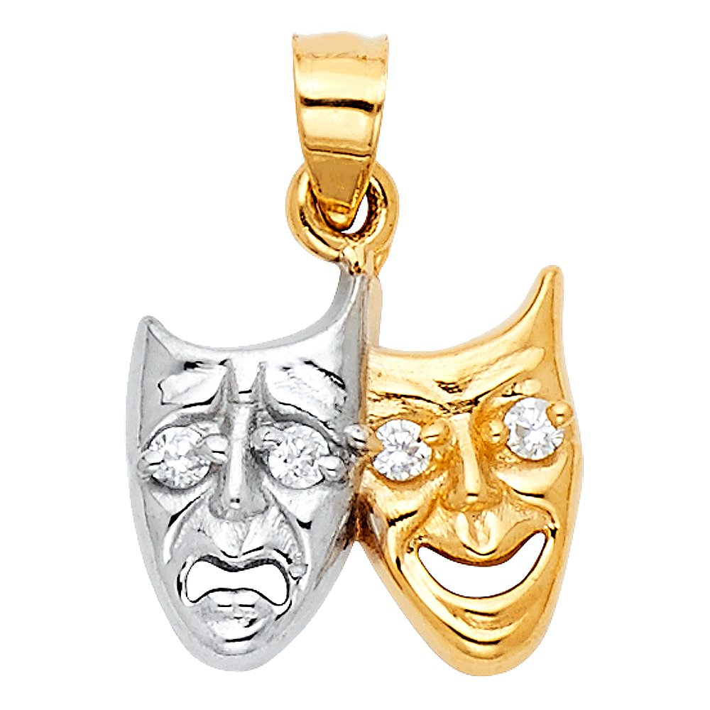14k White And Yellow Gold Two Face Pendant Charm