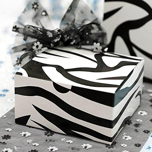 (Efavormart 100pcs of 4x4x2 Black/White Zebra Cake Boxes for Candy Treat Gift Wrap Box Party for Bridal Shower Wedding Party)