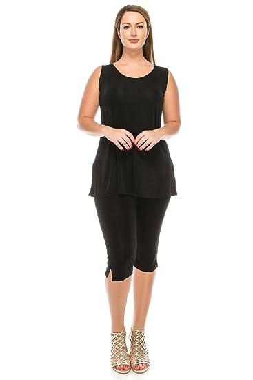 76d46431038 Jostar Women s Stretchy Tank Capri Pant Set Sleeveless Plus 2XL Black
