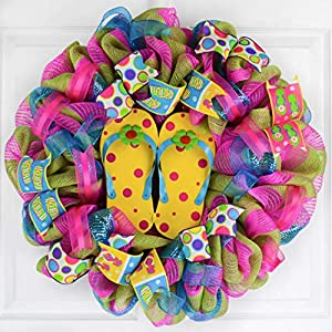 Yellow Summer Spring Flip Flop Welcome Deco Mesh Wreath | Turquoise Lime Green Pink 98