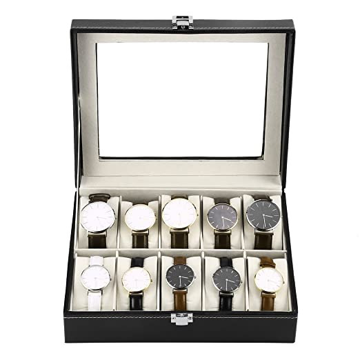 Homgrace Caja para relojes con 10 compartimentos, de piel sintética, para guardar relojes y joyeros, tamaño: 25.5 x 20.2x 8.3 cm: Amazon.es: Relojes