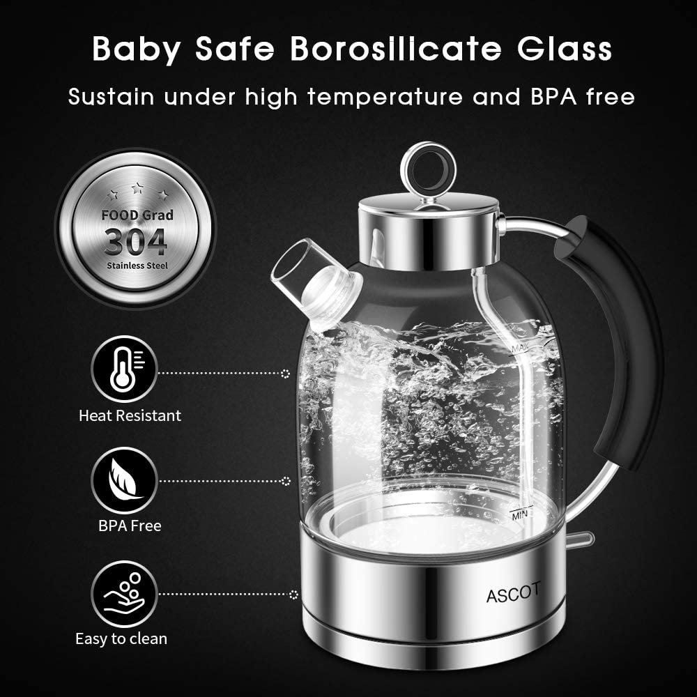 Rose Gold ASCOT KE1003 Glass Electric Kettle