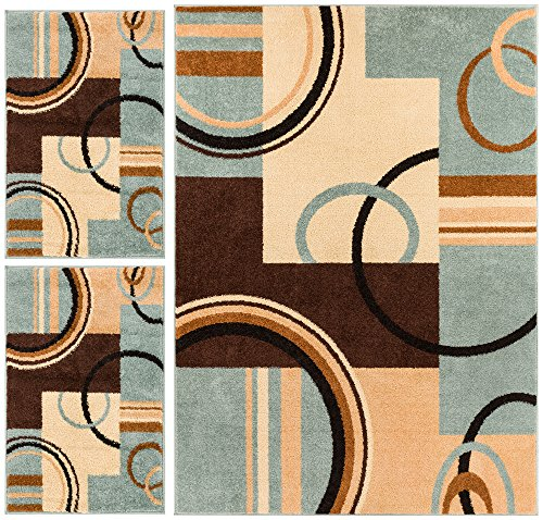 Wheelhouse Modern Abstract Geometric Contemporary Multi Blue Beige Ivory Brown Green 3-piece Living Dining Room Entryway Bathroom Kitchen Ultra Value Area Rug Set 5x7 and Bonus 2x3 Mats