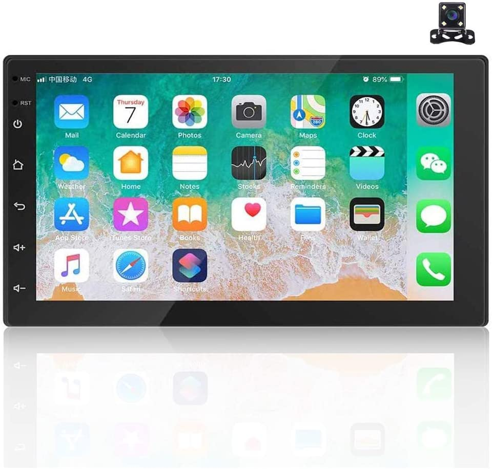 Autoradio 2 DIN Android 9.1,7 '' HD Bluetooth Radio de Coche FM con USB/AUX-In/RCA-In, Compatible con Dvr/GPS Navi/Mirror Link/Control Remoto en el Volante y CáMara de VisióN Trasera